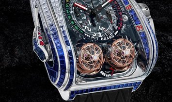 Jacob & Co. 捷克豹 [NEW MODEL] Twin Turbo Furious Baguette in White Diamonds and Blue Sapphires