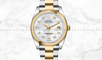 Rolex Datejust 36 126203-0024 Yellow Rolesor Diamond Set White Mother of Pearl Dial Oyster Bracelet