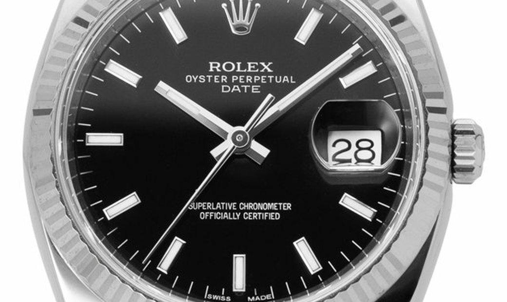 Rolex Oyster Perpetual Date 115234, Baton, 2015, Very Good, Case material Steel, Bracel
