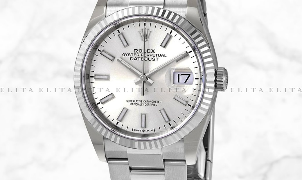 Rolex Datejust 36 126234-0014 Oystersteel and White Gold Silver Dial Oyster Bracelet
