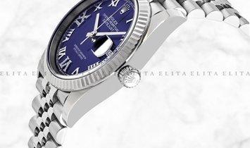 Rolex Datejust 36 126234-0021 Oystersteel and White Gold Diamond Set Aubergine Dial Jubilee Bracelet