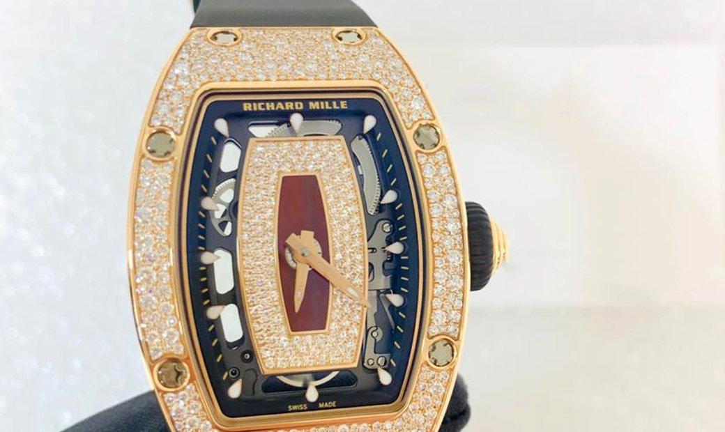 Richard Mille [NEW] RM 07-01 Rose Gold Red Snow Diamonds Jasper Dial