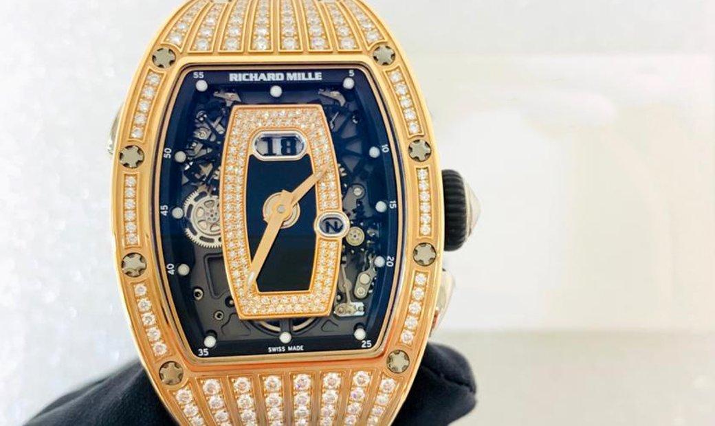 Richard Mille [2018 NEW] RM 037 Rose Gold Black Med Set Diamonds Onyx Dial