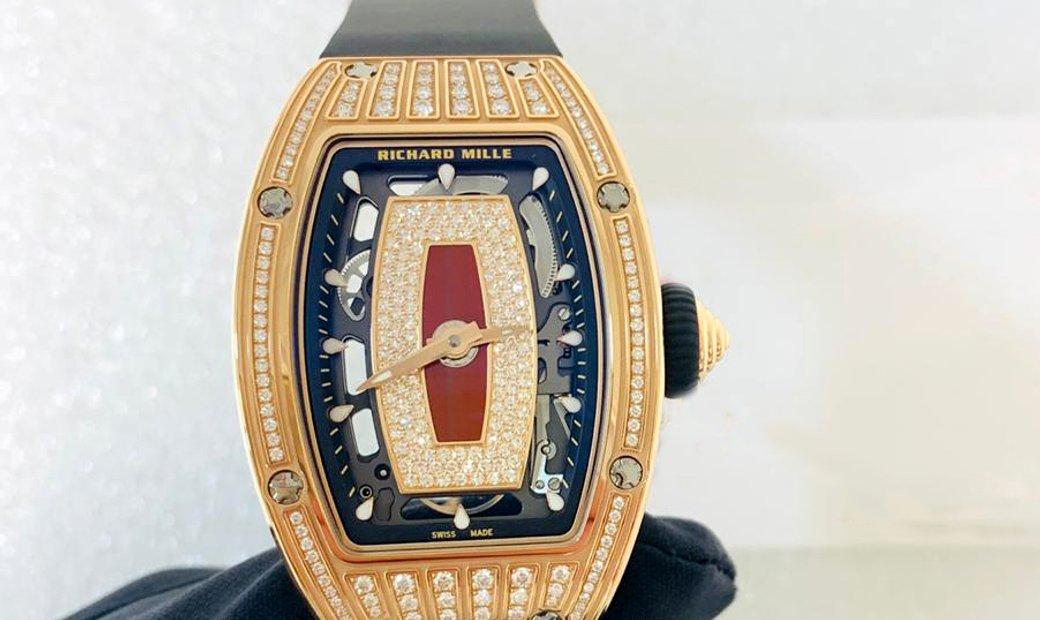 Richard Mille [NEW] RM 07-01 Rose Gold Med Set Diamonds Jasper Dial
