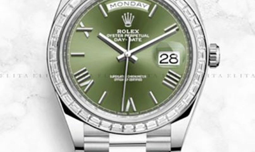 Rolex Day-Date 40 228396TBR-0020 Platinum Olive-Green Dial Diamond Set Bezel