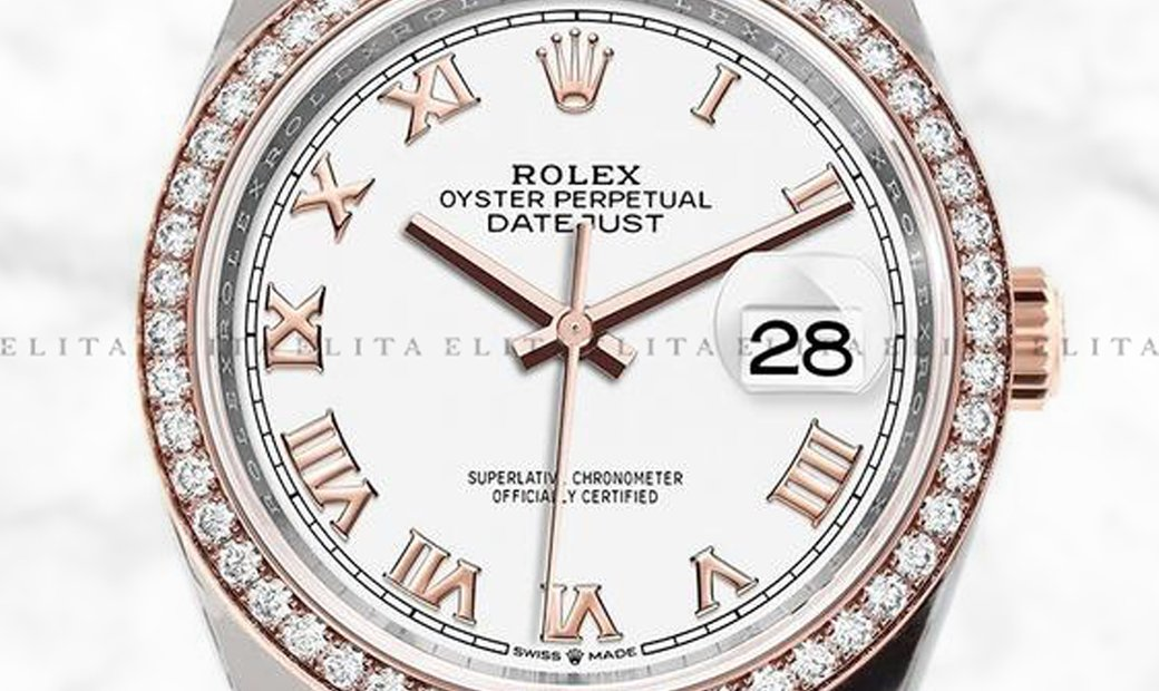 Rolex Datejust 36 126281RBR-0003 Oystersteel and Everose Gold White Dial Diamond Bezel