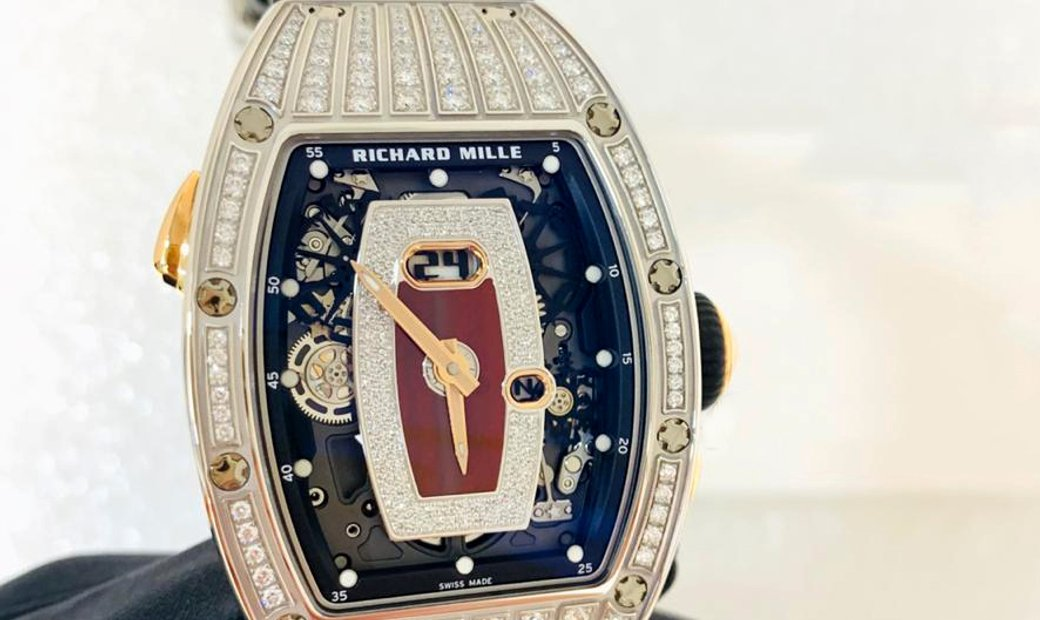 Richard Mille [NEW] RM 037 White Gold Red Med Set Diamonds Jasper Dial