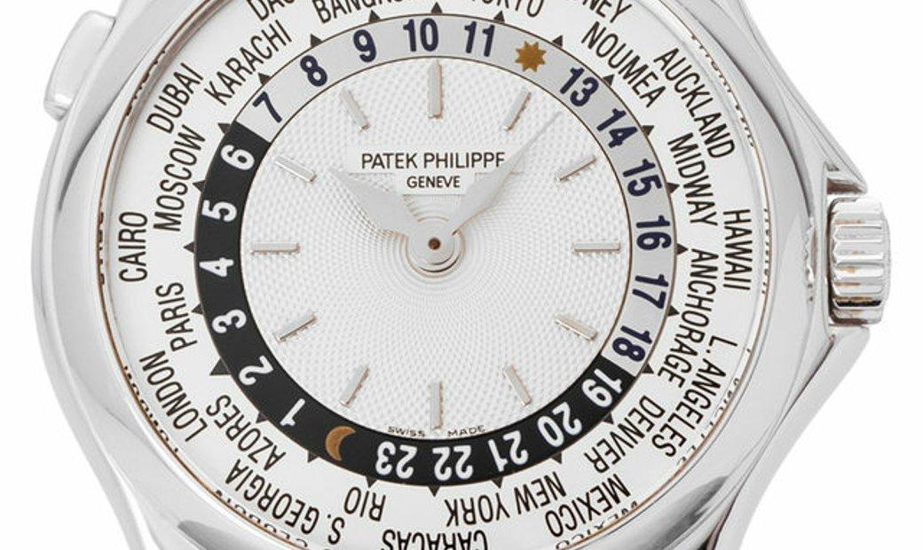 Patek Philippe World Time 5110G-001, Baton, 2005, Very Good, Case material White Gold,