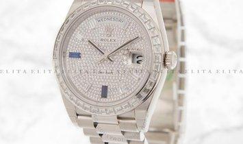 Rolex Day-Date 40 228396TBR-0021 Platinum Diamond Paved with Sapphires Dial Diamond Set Bezel