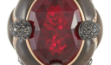 Oro Trend Oro Trend 18K Rose Gold 2.58 ct Diamond, Garnet and Mother of Pearl Ring