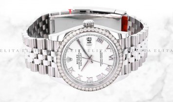 Rolex Datejust 36 126284RBR-0017 Oystersteel and White Gold White Dial Diamond Bezel