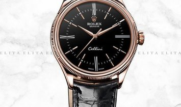 Rolex Cellini Time 50505-0009 18K Everose Gold 39mm Black Dial with Double Bezel