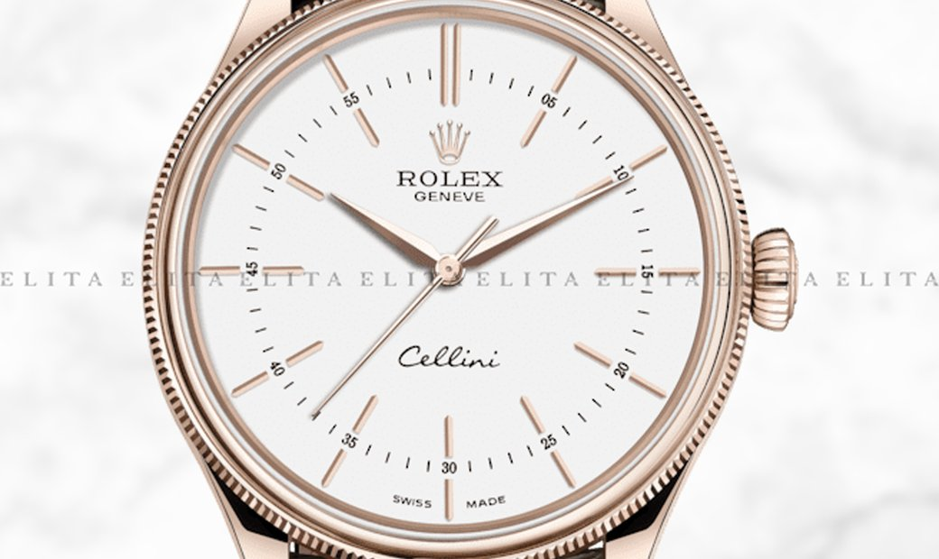 Rolex Cellini Time 50505-0020 18K Everose Gold 39 mm White Dial with Double Bezel