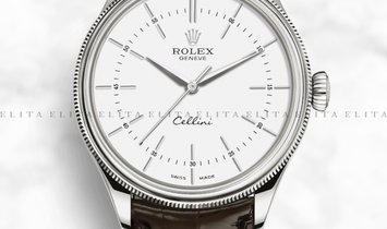Rolex Cellini Time 50509-0017 18K White Gold 39mm White Dial with Double Bezel