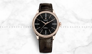 Rolex Cellini Time 50505-0008 18K Everose Gold 39mm Black Dial with Double Bezel