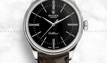 Rolex Cellini Time 50509-0022 18Ct White Gold 39mm Black Dial with Double Bezel