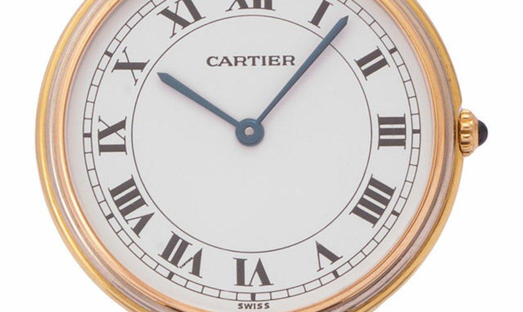 Cartier Vendome Tri-Color 881003, Roman Numerals, 1990, Good, Case material Yellow Gold