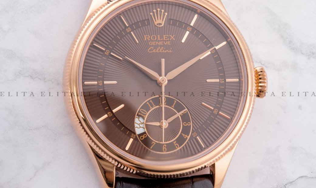 Rolex Cellini Dual Time 50525-0015 18K Everose Gold 39mm Brown Guilloche Dial with Double Bezel