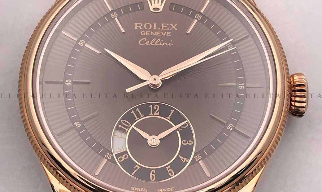 Rolex Cellini Dual Time 50525-0016 18K Everose Gold 39mm Brown Guilloche Dial with Double Bezel