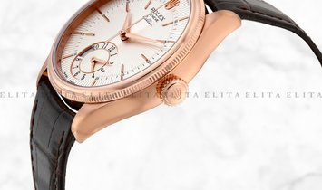 Rolex Cellini Dual Time 50525-0008 18K Everose Gold 39mm Silver Guilloche Dial with Double Bezel