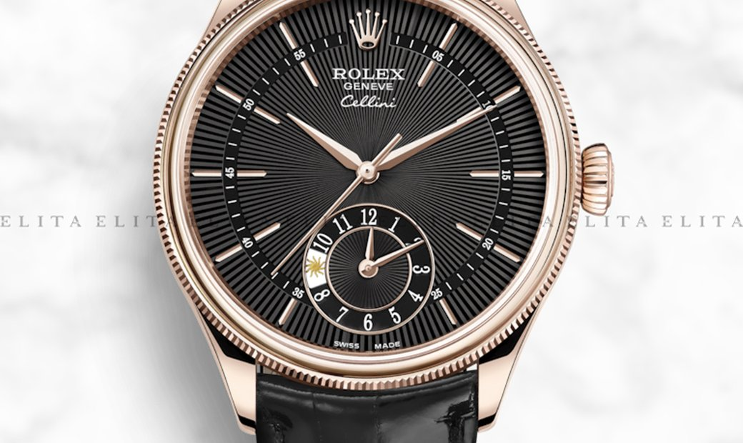 Rolex Cellini Dual Time 50525-0011 18K Everose Gold 39mm Black Guilloche Dial with Double Bezel