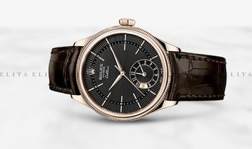 Rolex Cellini Dual Time 50525-0010 18K Everose Gold 39mm Black Guilloche Dial with Double Bezel