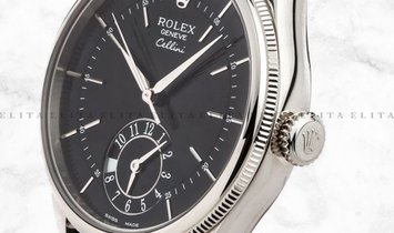 Rolex Cellini Dual Time 50529-0007 18K White Gold 39mm Black Guilloche Dial with Double Bezel
