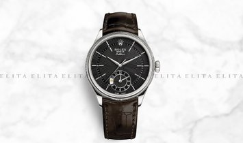 Rolex Cellini Dual Time 50529-0010 18K White Gold 39mm Black Guilloche Dial with Double Bezel