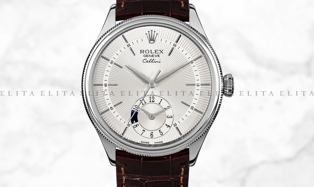 Rolex Cellini Dual Time 50529-0009 18K White Gold 39mm Silver Guilloche Dial with Double Bezel