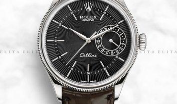 Rolex Cellini Date 50519-0014 White Gold Black Guilloche Dial Double Bezel Tobacco Leather Strap