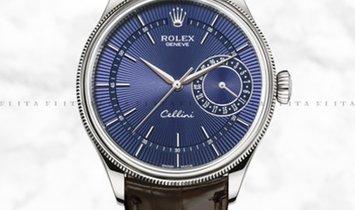 Rolex Cellini Date 50519-0015 White Gold Blue Guilloche Dial Double Bezel Tobacco Leather Strap