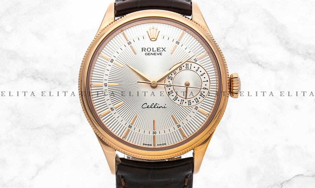 Rolex Cellini Date 50515-0008 Everose Gold Silver Guilloche Dial Double Bezel Leather Strap