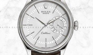 Rolex Cellini Date 50519-0012 White Gold Silver Guilloche Dial Alligator Leather Strap