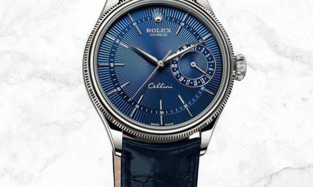 Rolex Cellini Date 50519-0011 White Gold Blue Guilloche Dial Double Bezel Leather Strap
