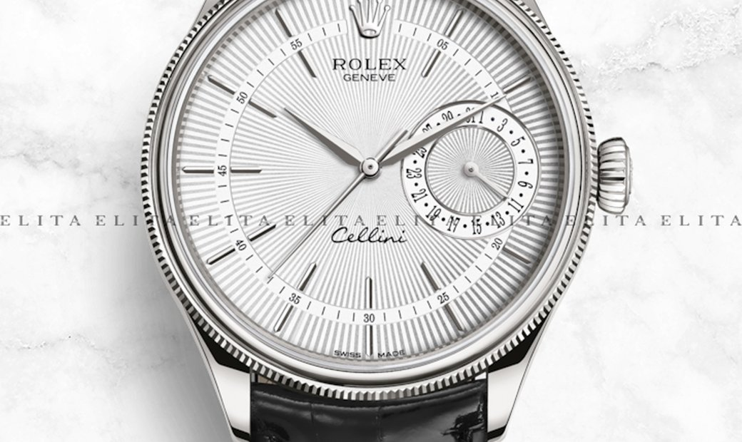 Rolex Cellini Date 50519-0006 White Gold Silver Guilloche Dial Double Bezel Black Leather Strap