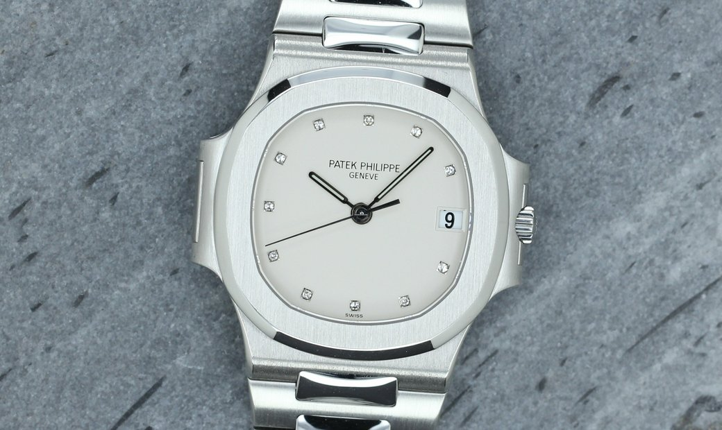 PATEK PHILIPPE NAUTILUS STEEL WHITE CERAMIC DIAL WITH DIAMONDS 3800