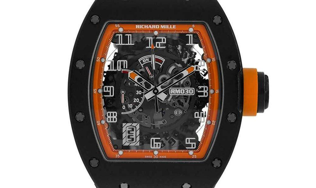 Richard MIlle Limited Edition Americas Black Carbon Orange Dial Watch RM030