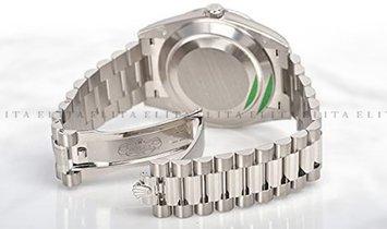 Rolex Day-Date 40 228349RBR-0001 White Gold Diamond Set Silver Coloured Dial Diamond Bezel