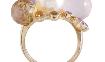 Chanel Chanel 18K Rose Gold Diamond, White Pearl and Semiprecious Stones 4-Ball Ring