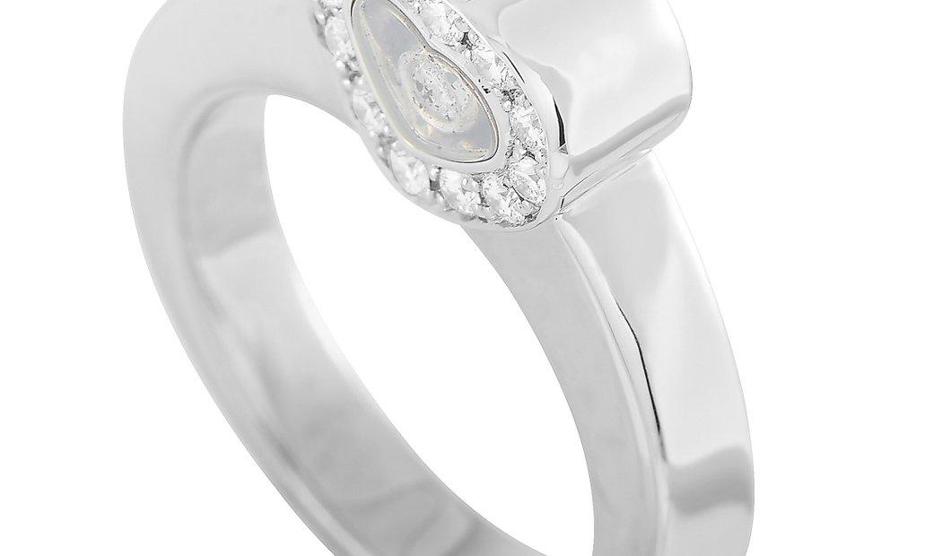 Chopard Chopard Happy Diamonds 18K White Gold Diamond Heart-Shaped Ring