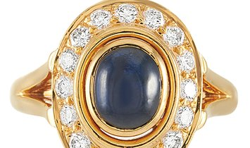 Cartier Cartier 18K Yellow Gold ~0.50 ct Diamond and Sapphire Cabochon Ring