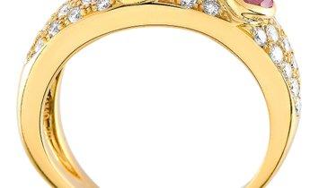 Chopard Chopard Happy Diamonds 18K Yellow Gold 0.65 ct Diamond and Pink Sapphire Heart Ring