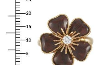 Van Cleef & Arpels Van Cleef & Arpels Nerval 18K Yellow Gold Diamond and Wood Ring