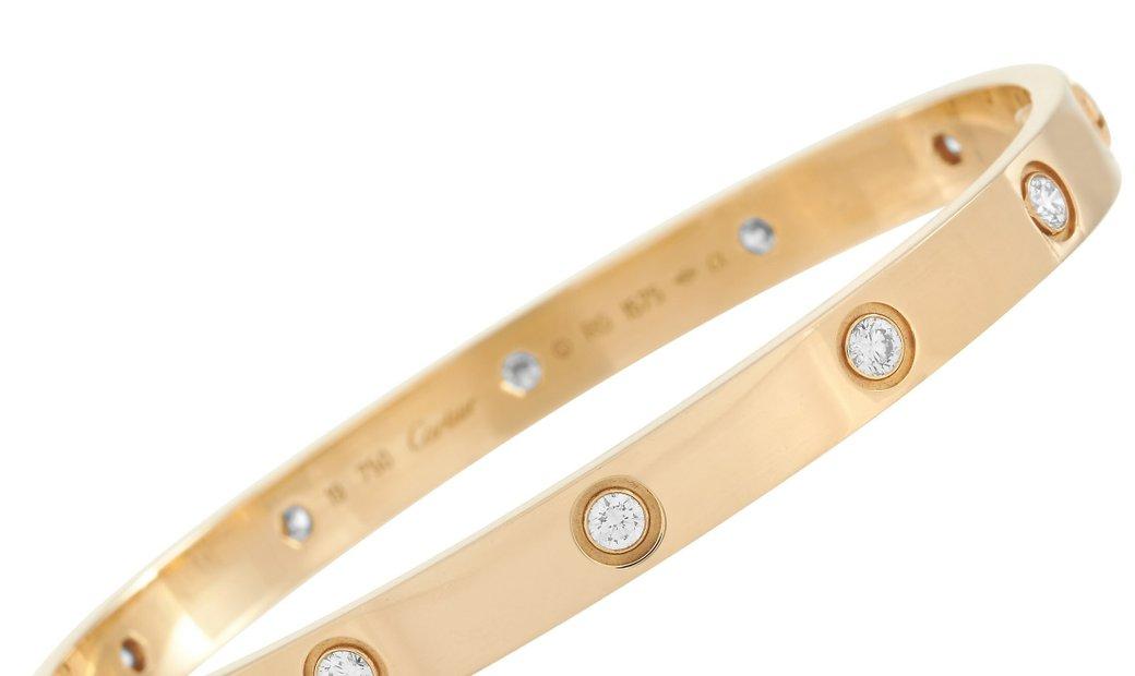 Cartier Cartier LOVE Vintage 18K Yellow Gold 10 Diamond Bracelet Size 19