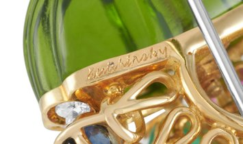Kutchinsky  Kutchinsky 18K Yellow Gold 0.75 ct Diamond, Peridot, Turquoise, Ruby, Sapphire and Emera