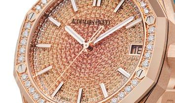 Audemars Piguet Royal Oak 18k Rose Gold Factory Diamond Pave Dial Watch 15502OR.ZZ.1222OR.01