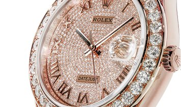 Rolex Datejust 39 Pearlmaster Rose Gold Factory Diamond Paved Watch 86405RBR