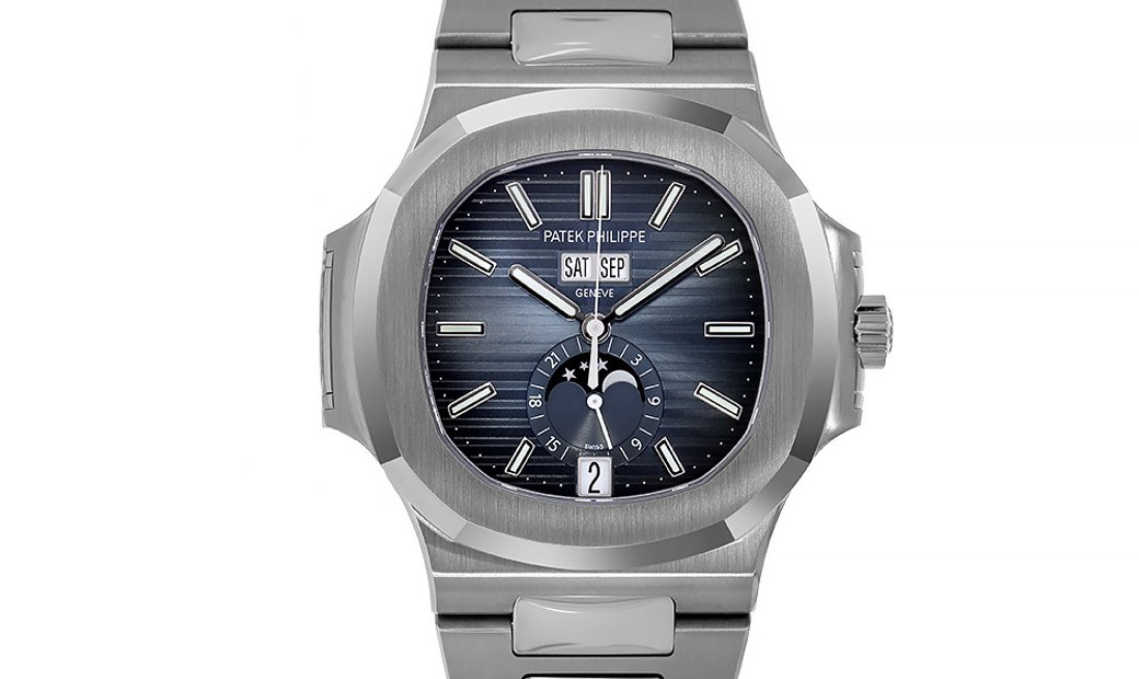 Patek Philippe Nautilus Stainless Steel Annual Calendar Blue Dial Watch 5726/1A-014