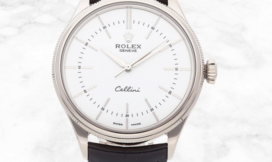 Rolex Cellini Time 50509-0016 18K White Gold 39mm White Dial with Double Bezel
