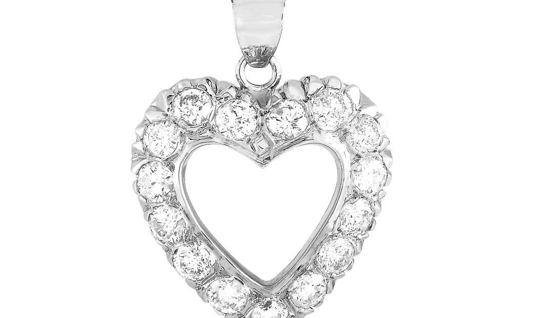 LB Exclusive LB Exclusive 14K White Gold 3.29 ct Diamond Heart Pendant Necklace